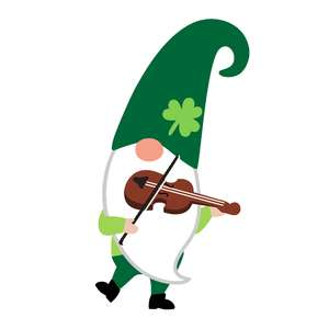 st. patrick's day gnome playing fiddle