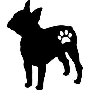 french bulldog dog and paw silhouette