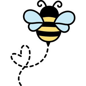 cute bee with heart path