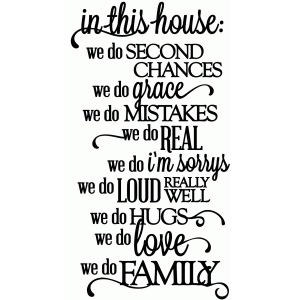 in this house...we do family - vinyl phrase