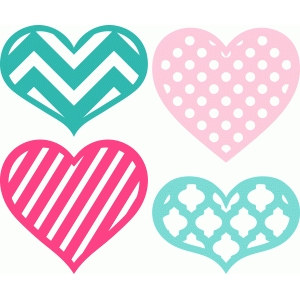 4 hearts with patterns