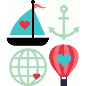 travel icons: balloon, boat, globe, anchor