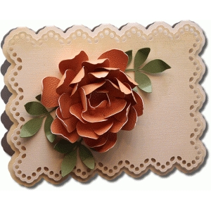 3d doily flower with leaf a2 card