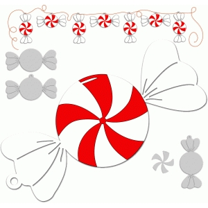 peppermint tag/bunting/ornament