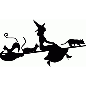 witch flying with cats