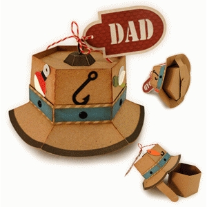 fishing 3d bucket hat favor box