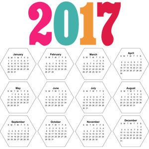 2017 print & cut calendar hexagon