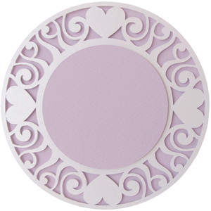 curly hearts round layer card