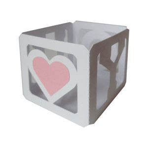 3d letter block votive - 'heart u'