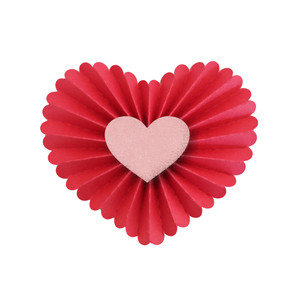 3d accordian pleated scalloped heart