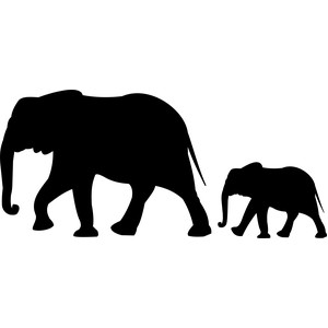 mother elephant with baby elephant silhouette