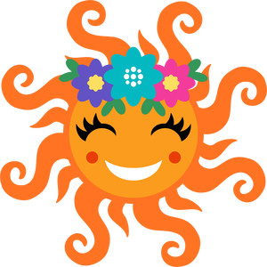 sun with flowers