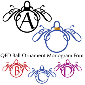 qfd ball ornament monogram font