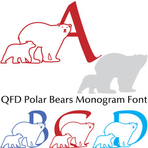 qfd polar bears monogram font