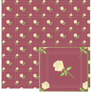 cream roses on stitched pattern