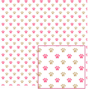pink and brown paws pattern