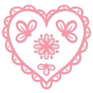 scallop floral heart