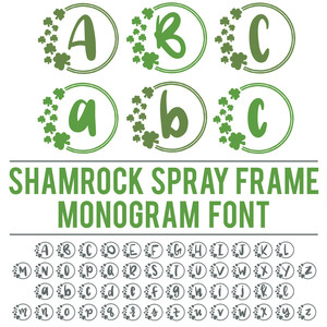 shamrock spray frame monogram font