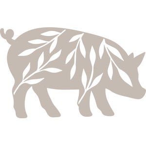 pig silhouette with leaves