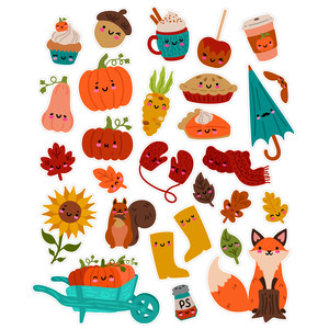 kawaii fall stickers