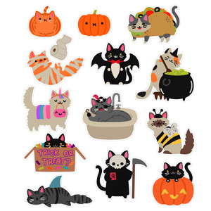 halloween kawaii cat stickers