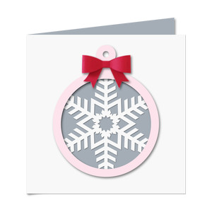 snowflake cutout card w 3d bow