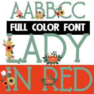 lady in red color font