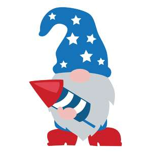 patriotic gnome with firework