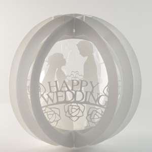 three layered pop up sphere happy wedding