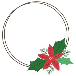 layered poinsettia round frame