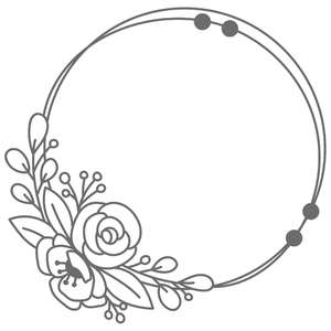 flower messy circle frame