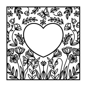 flower heart frame