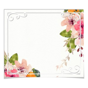 square floral watercolor tag