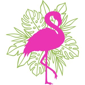 flamingo with leaves