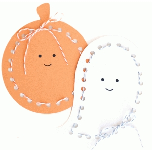 pumpkin and ghost lace-up cards