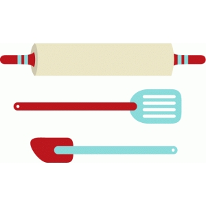 rolling pin and spatulas