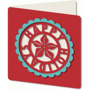 cut out poinsettia holiday card