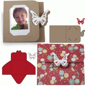 instant photo butterfly card and envelope