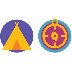 summer camp tent & compass