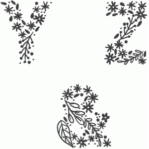 floral alphabet y, z, and ampersands