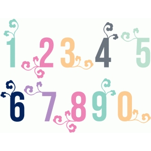 floral swirl numbers set