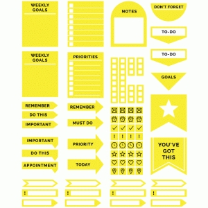yellow minimalist planner stickers
