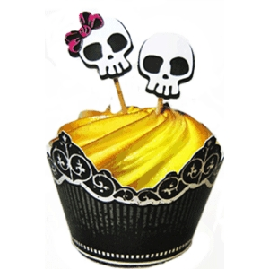 halloween party cupcake wrapper - skulls