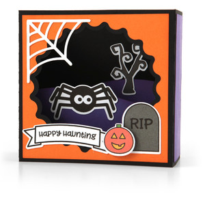 shadow box card scene - halloween spider