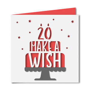 'make a wish' 20 birthday card