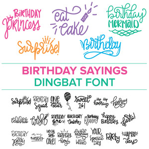 birthday sayings dingbat font