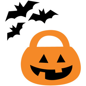 bats and pumpkin halloween night