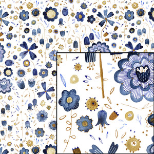 indigo watercolor flowers pattern