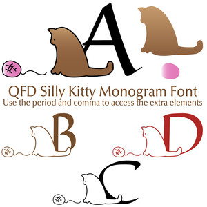 qfd silly kitty monogram font