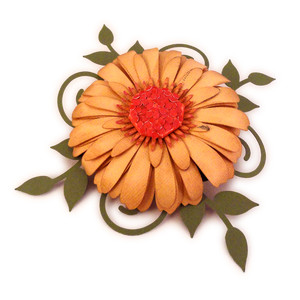flower 3d center dome with swirl vine